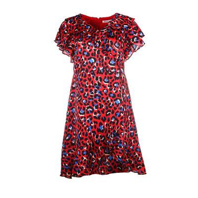 carmen ruffle neck dress in red leopard [UK14]